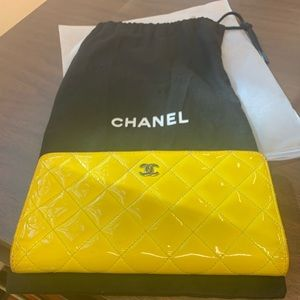 Authentic CHANEL quilted yellow wallet